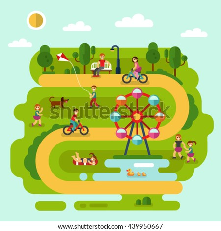 Flat design vector summer landscape illustration of park with sunbathing girl, ferris wheel, road, bench, walking people, cyclists, pond with ducks, boy with kite, children playing with dog.