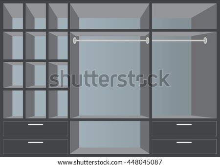 Flat Design walk in closet with shelves, interior design, Furniture Wardrobe room, vector illustration.