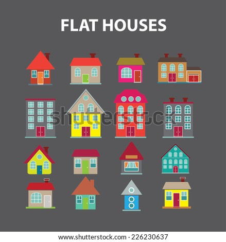 flat houses, buildings icons, signs, illustrations set, vector