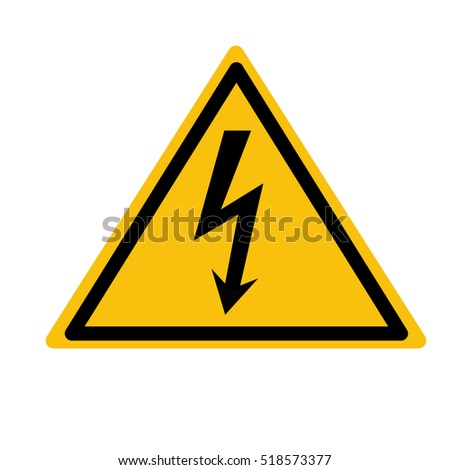 Flat icon danger high voltage. Black arrow in yellow triangle isolated on white background.