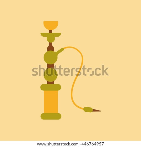 flat icon on stylish background Eastern hookah smoke