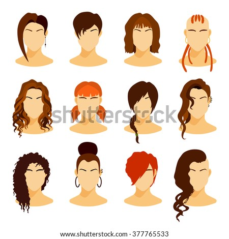 hairstyles for medium length natural hair : Flat icons collection of various women with stylish haircuts. Modern ...