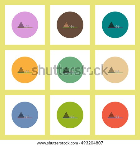 flat icons Halloween set of pyramid and zombie mummys concept on colorful circles