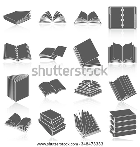 Flat icons vector collection of books set. Isolated on white background.