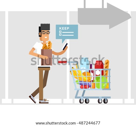 Flat illustration for shop, supermarket. Vector character man with supermarket basket full of meal. Check shopping lists on your phone. Daily purchases.