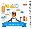 Flat  illustration home appliances, household chemicals and woman washing and cleaning. Cleaning company. Housekeeper. Doodle design style concept, for web banners.    - stock vector