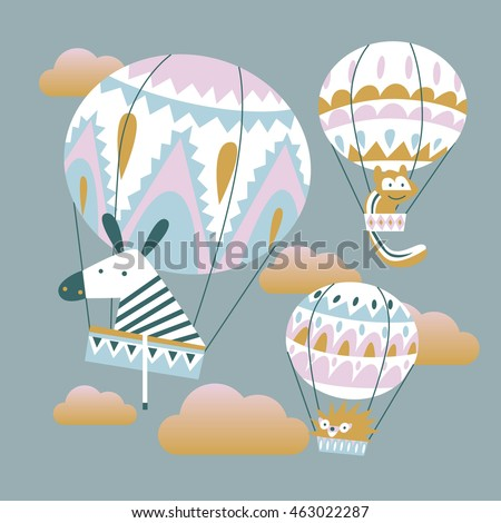 flat illustration of animals and balloons. Funny flying in the sky in the clouds. Zebra, chipmunk, hedgehog