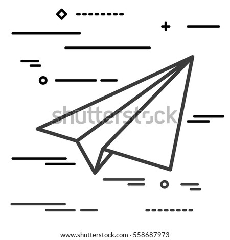 Flat Line design graphic image concept of paper plane icon on a white background