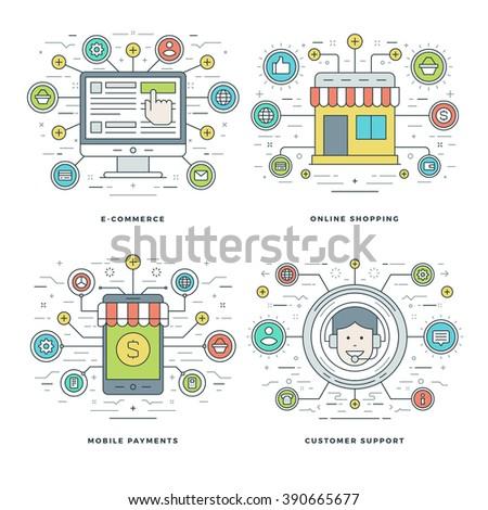 Set modern vector illustration concepts webinars stock for E commerce mobili