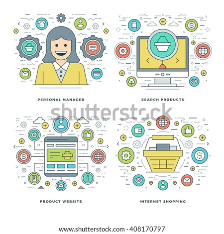 Flat line Manager, Search Products, Shopping Business Concepts Set Vector illustrations. Modern thin linear stroke vector icons. Website Header Graphics, Banner, Infographics Design.