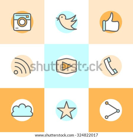 Flat line set icons designs of camera, like, bird, phone, website, share. Represents approval, vote, saying yes, recommendation, appreciation.