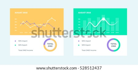 Flat linear graph chart. Infographic dashboard template with flat design graph