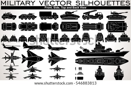 Flat Military Units. Vector Isolated Icons of Armored Vehicles, Military Aircraft, Ship and Soldiers. Kit include Top Down, Frontal, Back and Side View