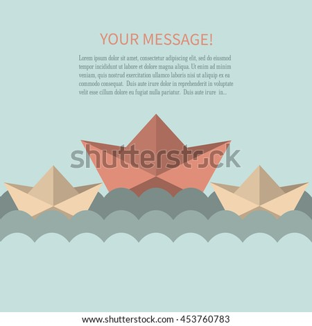 Flat paper boat logo on a blue background. Banner in the form of origami.