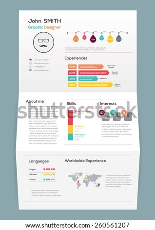 flat resume on brochure with infographics and timeline vector illustration