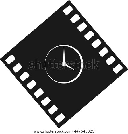 Flat round clock stock vector icon illustration