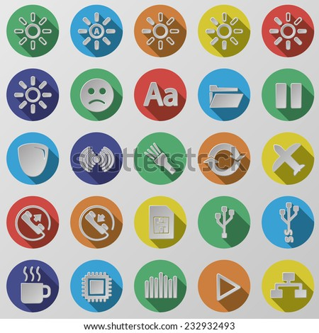 Flat round isolated colored web / mobile / seo / media icon vector set