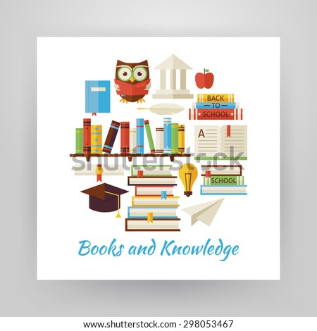 Flat Style Circle Vector Set of Books Education and Knowledge Objects Isolated over White  Paper Template. Collection of Wisdom Library Reading Colorful Objects. School University and Learning Items.