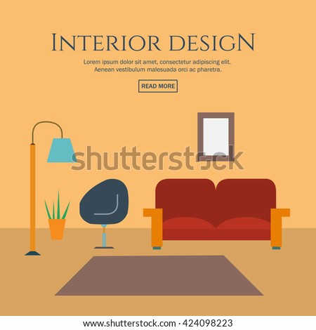 Flat style concept set of interior design room types. Concepts for web banners and promotional materials. Vector illustration.