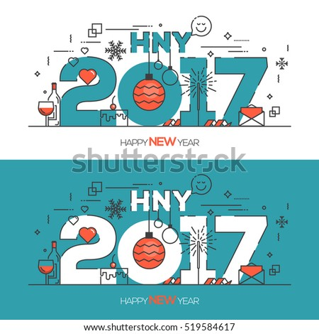Flat Thin Color Line Concept of Happy New Year 2017, trendy and minimalistic card or background. Modern Thin Contour Line Design. Vector Illustartion