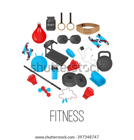Flat trendy color background with sport equipments elements set for gym or fitness club flayers.