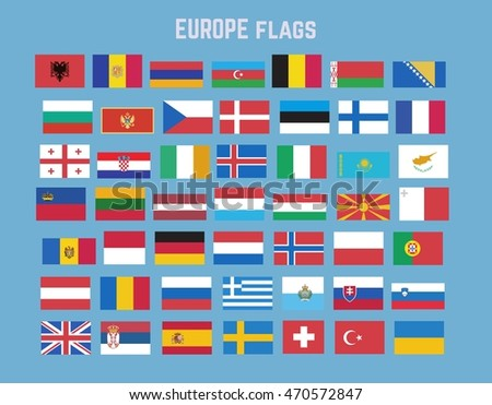 Flat vector collection of europe flag set.