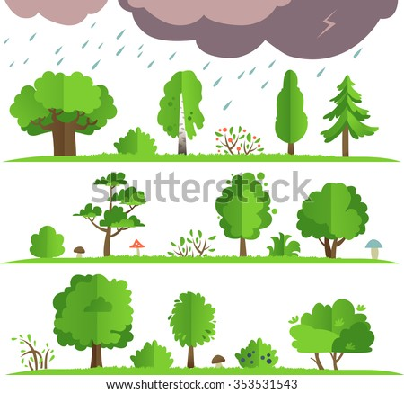 Flat vector forest elements.