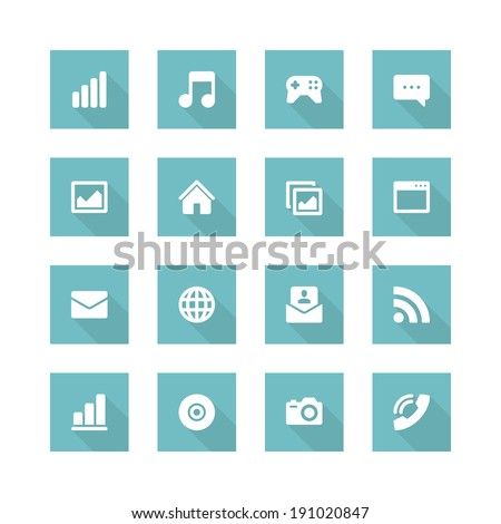 Flat vector icons concept. Design elements for business, social media,web site and mobile phone templates. design. Long shadow effect.