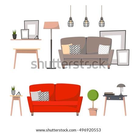 Retro Interior Living Room Bookcasesofa Houseplant Stock Vector
