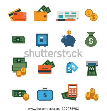 Flat web site interface finance online banking payment transaction infographics icon set. Wallet money dollar banknote coin safe credit card check internet concept icons collection.
