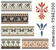 Fleur de lis seamless borders and motifs inspired by medieval design. - stock photo