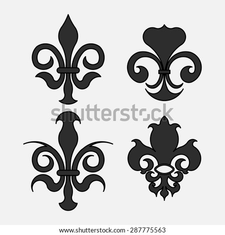Fleur-de-lis, the heraldic symbol of royal lily symbols for design, royal colors, fully editable vector image