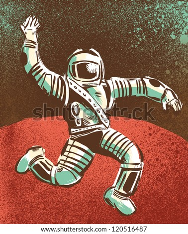 Floating Astronaut on Mars