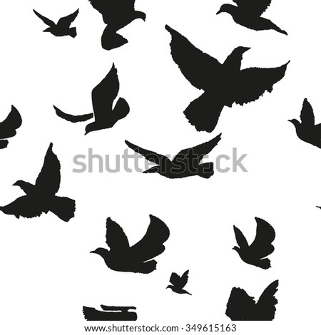 Flock of birds. Seamless pattern. Hand drawn background.