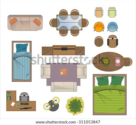 furniture for floor plans. floor plan furniture set vector illustration for plans l