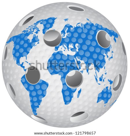 Floorball ball with the world globe