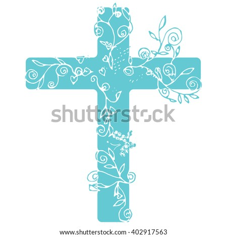 Flora cross in blue on white background