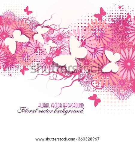 floral abstract background with butterflies. Vector