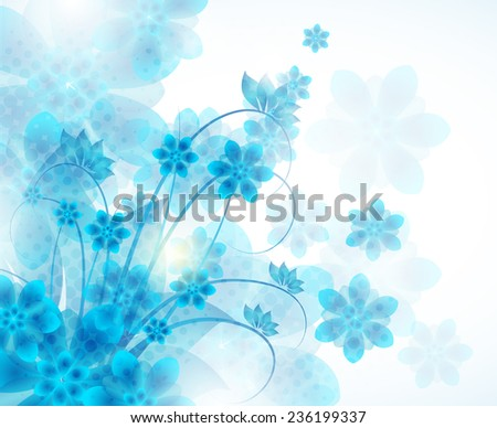 Floral abstract vector background with blue flowers