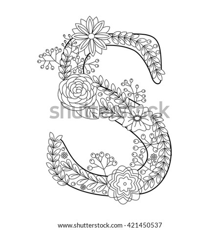 Floral Letters Coloring : Floral lowercase decorative letter v composed stock vector