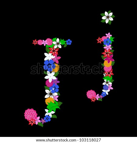 Floral alphabet letter for using in web and print design. Vector illustration.