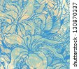 floral background and grunge texture. engraved retro style. vector illustration - stock vector