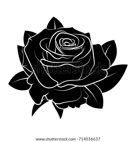 Black Silhouette Rose Vector Illustration Stock Vector ...