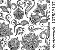 Floral background with decorative ornament.  Seamless pattern for your design wallpapers, pattern fills, web page backgrounds, surface textures. - stock vector