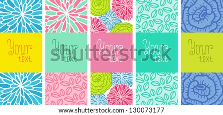 Floral banner set with place for your text. Vector card with flowers.