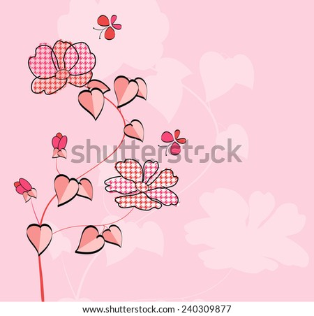 Floral card with butterfly-Vector illustration