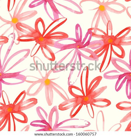 Floral colorful hand drawn paint watercolor stylish vector flower pattern design