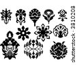 floral design element icons - stock vector