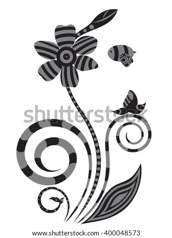 Floral design in white and black color
