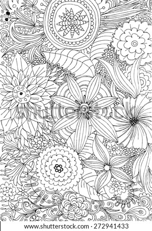Floral doodle. Flower hand drawing vector. Black and white design elements.